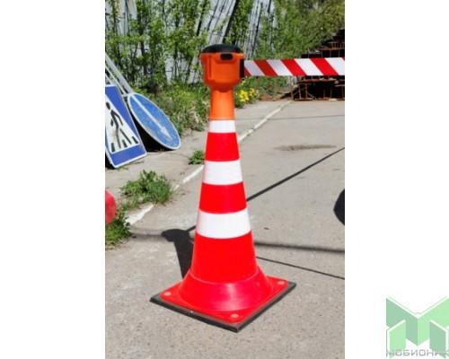 Дорожный конус-ограждение с утяжелителем для блока с лентой Skipper (тм)