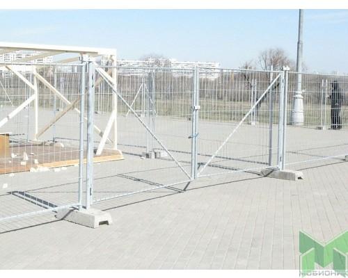 Ворота строительного ограждения 6,0 метра (2х3,0м), оцинк.