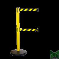 Индустриальная стойка Barrier Belt® 511Y желтая с двумя сигнальными лентами