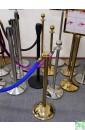 Столбик с канатом Barrier Classic 05 Gold. Синий бархатный канат 40мм